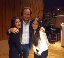 Italy's Junior Eurovision representaives Chiara and Martina, together with Maestro Leonardo de Amicis