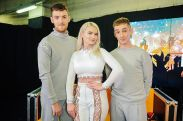 LIVERPOOL, ENGLAND - DECEMBER 17: (L-R) Jack Patterson, Grace Chatto and Luke Patterson of Clean Bandit pose backstage at Radio City Christmas Live at Echo Arena on December 17, 2016 in Liverpool, England. (Photo by Shirlaine Forrest/Getty Images)
