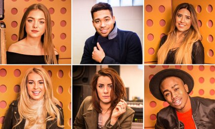 The UK's Eurovision shortlist … (clockwise from top left) Olivia Garcia, Danyl Johnson, Salena Mastroianni, Nate Simpson, Lucie Jones and Holly Brewer.jpg