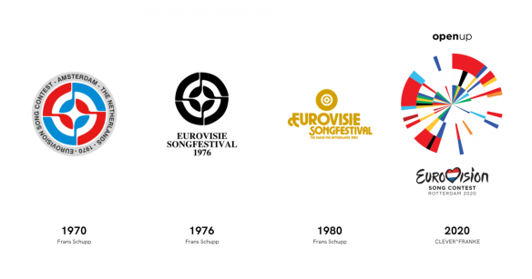 Dutch Eurovision Song Contest logos throughout the years